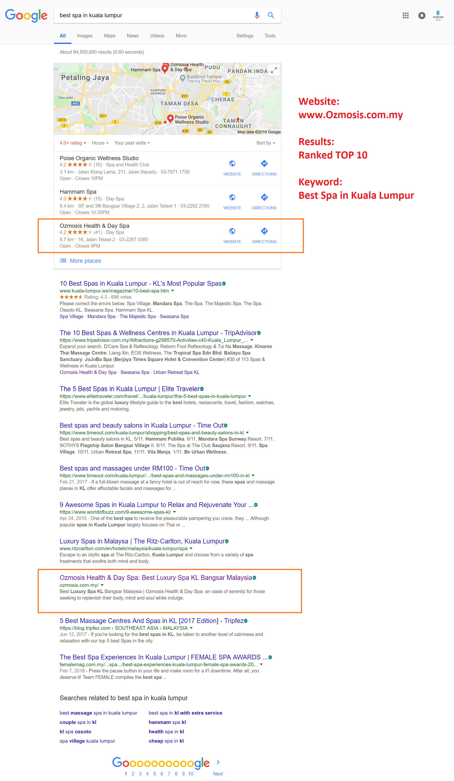 Best Spa in Kuala Lumpur- Google Search Proven Top-10 Result from client Ozmosis Spa_Simple Practical SEO Training That Works_Digital Marketing Workshop Malaysia
